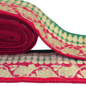 Red Trim Sari Border Floral Embroidered Ribbon 7.8 Cm Wide Trim By The Yard