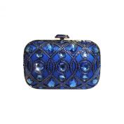 Anna Cecere Italian Designed Lustrino Jewel Clutch Evening Cocktail Bag - Blue