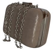Style and Company Gabriella Light Beige Sparkling Minaudiere Bag With Silver Trim