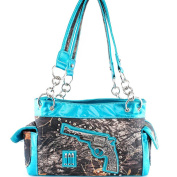 Western Camo Pistol Gun Bullets Turq /Pink Rhinestone Handbag Purse and Optional Messenger Bag