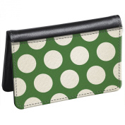 Snaptotes Slim Leather Accent Green Polka Dot ID Debit Wallet