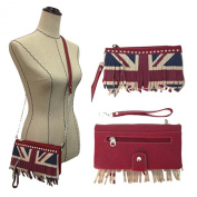 WESTERN WEAR WOMEN'S FLAG RED CROSS OVER PURSE OR CLUTCH WITH WRISTLET STRAP AND SHOULDER STRAP