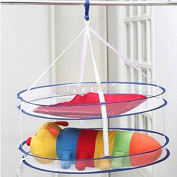 happu-store CONVENIENT Drying Rack Folding Hanging Clothes Laundry Basket Dryer Net 2 layers