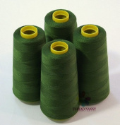 4 Large Cones (3000 yards each) of Polyester threads for Sewing Quilting Serger Moss Green Colour from ThreadNanny
