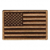 Tactical USA Flag Patch - Desert Tan 5.1cm x 7.6cm hook and loop Backing