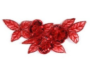 Beaded Floral Cluster Applique By Shine Trim - Red