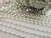 Roll of 10 yards Faux Pearl Stud Jewel 3mm Silver Plated Chain Pearly Trim/Trimming (E4-Pearl) US Seller Ship Fast