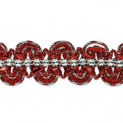 Expo International Eva Faux Rhinestone Metallic Braid Trim Embellishment, 20-Yard, Red/Silver