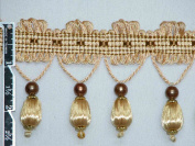 6.4cm Unique Tassel Fringe Trim Ball Bead Gold Per Yard