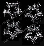 Set of 4 Stars Clear Rhinestone Iron on Hotfix Transfer bling DIY