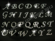 PICK ANY 15 letters-Cursive alphabet letters Clear Rhinestone Iron on Hotfix Transfer