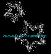 Set of 2 Star Clear Rhinestone Iron on Hotfix Transfer Star Bling DIY