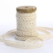 Vintage Look Aged Wooden Spindle with 10 Yards of Natural Cotton Lace