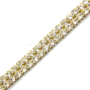 RHINESTONE BAND W/GOLD METAL POINTED SETTINGS SELLING PER YARD
