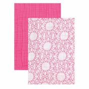 Yoga Sprout Muslin Swaddle Blankets, Pink Scroll/Teal Giraffe, 120cm x 120cm