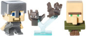 Minecraft Collectible Figures Bats, Steve with Iron Armour and Villager 3-Pack, Series 2