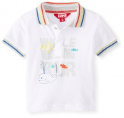 KANZ Baby Baby-Boys Newborn White Printed Polo, Bright White, 6 Months Colour