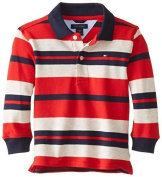 Tommy Hilfiger Baby-Boys Infant Leroy Yarn Dye Long Sleeve Pique Polo, Red, 12 Months Colour