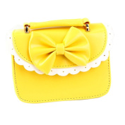 Qianbo Children Girl's Lace Leather Princess Shoulder Bag Handbag With Bow Yellow