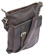 Twenty8 Independent Mens Luxury Brown Leather Top Zip Crossbody Bag