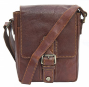 Prime Hide Leather Rugged Small Brown Leather Flight Bag from the Trent Range - Rodeo Brown