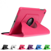 Doupi 360° PU Leatherette Deluxe Slipcover for Apple iPad 2 3 4 Case Cover 360 Deg Rotatable Kickstand Protective Pouch Pocket Sleeve Display Protection Pink pink Für iPad mini 1/2/3 Retina