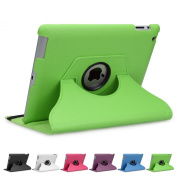 Doupi 360° PU Leatherette Deluxe Slipcover for Apple iPad 2 3 4 Case Cover 360 Deg Rotatable Kickstand Protective Pouch Pocket Sleeve Display Protection Green green Für iPad 2/3/4