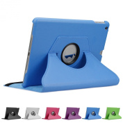 Doupi 360° PU Leatherette Deluxe Slipcover for Apple iPad 2 3 4 Case Cover 360 Deg Rotatable Kickstand Protective Pouch Pocket Sleeve Display Protection Blue blue Für iPad 5 / iPad Air