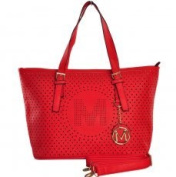 VK1512 Red - New Look Letter M Detail Cut Out Shopper Bag