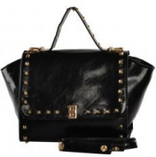 VK1530 Black - Studded Flapover Winged Tote Bag