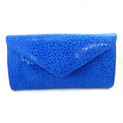 Leather pouch bag 'Frandi'blue capri (2 bellows)leopard.