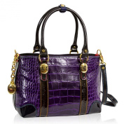 Marino Orlandi Italian Designer Purple Croc Leather Tote Crossbody Bag
