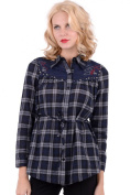 Long Checked Shirt With Stud Detail