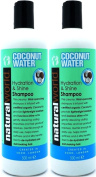 TWO BOTTLES of Natural World Coconut Water Hydration & Shine Shampoo 500ml