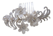 Hand Made Freshwater Pearl and Silver. Bridal Flower Hair Comb / Wedding Hair Accessories