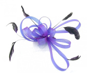 purple multi looped with feathers fascinator for weddings, races or prom