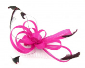 Pink multi loops fascinator with feathers mounted on a comb for weddings