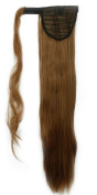 "New Fashion 24""(60cm) Straight Light Brown Wrap Around Ponytail Clip in Hair Extensions Extension hook and loop Strap Pony Tail Long Popluar Style"