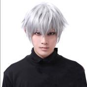 Aicos Tokyo Ghouls Ken Kaneki Cosplay Wig Mens Short Halloween Party Wigs Silver White