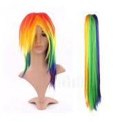 Sexy Adult Womens Fashion Colorfull Natural Full straight Wig Tail Set My Little Pony Rainbow Dash Party Cosplay Costume Fancy Dress Decor - Friendship Is Magic