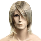 Tangda Medium style Straight Men Wig,Blonde colour