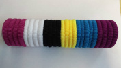 Set of 24 Mix Colour Soft Endless Fabric Hair Elastics Bobbles Hair Bands