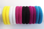Set of 12 Mix Colour Soft Endless Fabric Hair Elastics Bobbles Hair Bands