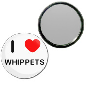 I Love Whippets - 77mm Round Compact Mirror