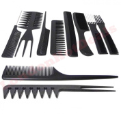 SystemsEleven 10 X PIECE COMB SET-PROFESSIONAL HAIRDRESSING/STYLING BARBERS COMB SET