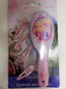 Disney Frozen Anna and Elsa Pink Hairbrush and 4 Hair Clips Set