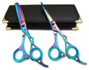 Professional Hairdressing Scissors & Thinner Hair Cutting Shears Barber Salon Styling Scissors 15cm Japanese Steel with Case Titanium RAZOR EDGE2