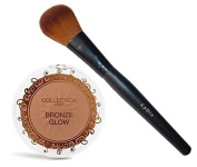 COLLECTION 2000 Bronze Glow Face & Body Bronzer Shimmering Compact Powder - 01 Sunkissed + LyDia Face Powder Brush F-08