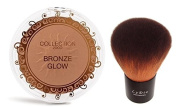 COLLECTION 2000 Bronze Glow Face & Body Bronzer Shimmering Compact Powder - 01 Sunkissed + LyDia Kabuki Brush F-06