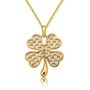 Zonman® Valentins day Lucky Romantic Four Leaf Rose Gold Plate Austrian Crystals Sweater Pendant Necklace Jewellery Gift